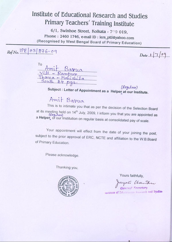 appointment letter format. Appointment Letter